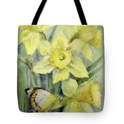 Delias Mysis Union Jack Butterfly On Daffodils Tote Bag