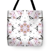 Delicate Cherry Blossom Fractal Kaleidoscope Tote Bag