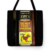 Delicious Chicken Dinners Sign Tote Bag