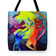 Demon Cats Dance By The Light Of The Moon Tote Bag by Beverley Harper Tinsley