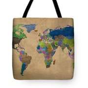 Denim Map Of The World Jeans Texture On Worn Canvas Paper Tote Bag
