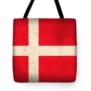 Denmark Flag Vintage Distressed Finish Tote Bag by Design Turnpike