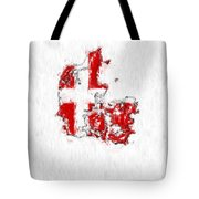 Denmark Painted Flag Map Tote Bag