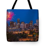 Denver Skyline Fireworks Tote Bag