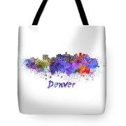 Denver Skyline In Watercolor Tote Bag