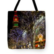 Denver's 16th Street Mall During Holidays Tote Bag