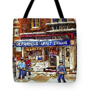 Depanneur Arret Eclair Verdun Rue Wellington Montreal Paintings Original Hockey Art Sale Commissions Tote Bag