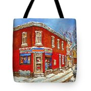 Depanneur Surplus De Pain Point St Charles Montreal Winterscene Paintings Cspandau Originals Prints  Tote Bag