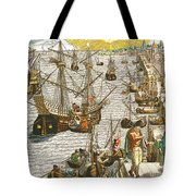 Departure From Lisbon For Brazil Tote Bag by Theodore de Bry
