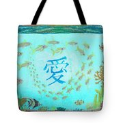 Depiction Of The Ocean With A School Of Fish Swimming Around A Heart Containing The Kanji Ai Meaning Tote Bag