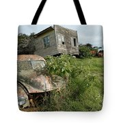 Derelict Morris And Old Truck On An Abandoned Farm Tote Bag