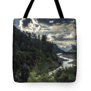 Desaturated Mountainscape Tote Bag