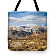 Desert View Of Majestic Mount Whitney Mountain Peaks With Clouds Tote Bag