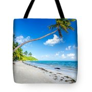 Deserted Beach And Palm Trees Tote Bag