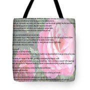 Desiderata On Garden Scene With Pink Roses Tote Bag