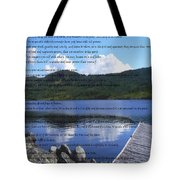 Desiderata On Pond Scene With Mountains Tote Bag