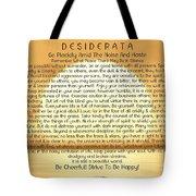 Desiderata Poem On Golden Sunset Tote Bag