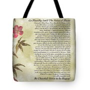 Desiderata Poem With Bamboo And Butterflies Tote Bag