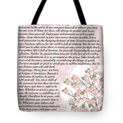 Desiderta Poem On Cherry Blossom Tote Bag