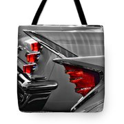 Desoto Red Tail Lights In Black And White Tote Bag