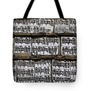 Detail Of A Carved Mani Stone In The Everest Region Of Nepal Tote Bag