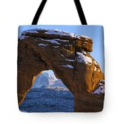 Detail Of Delicate Arch With Snow Arches National Park Utah Tote Bag