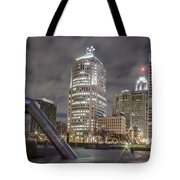 Detroit Fountain And Cityscape Tote Bag