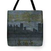 Detroit Michigan City Skyline Silhouette Distressed On Worn Peeling Wood Tote Bag