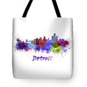 Detroit Skyline In Watercolor Tote Bag