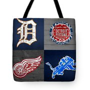 Detroit Sports Fan Recycled Vintage Michigan License Plate Art Tigers Pistons Red Wings Lions Tote Bag