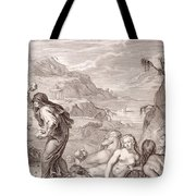 Deucalion And Pyrrha Repeople The World By Throwing Stones Behind Them Tote Bag
