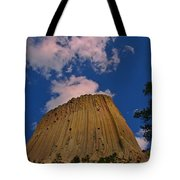 Devils Tower As A Volcano Tote Bag