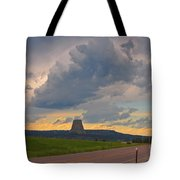 Devils Tower On The Horizon At Sunset Tote Bag