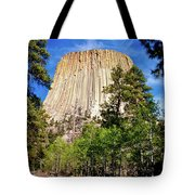 Devil's Tower Through The Trees Tote Bag