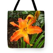 Dew Drops On Golden Lily Tote Bag