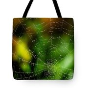 Dew Drops On Spider Web  Tote Bag
