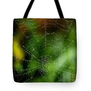 Dew Drops On Spider Web 3 Tote Bag