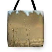 Dew Fog And Grasses Tote Bag
