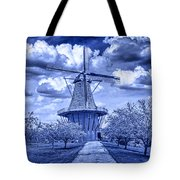 deZwaan Holland Windmill in Delft Blue Tote Bag