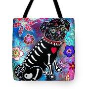 Dia De Los Muertos Pug Tote Bag by Pristine Cartera Turkus