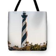 Diagonal Black And White Stripes Mark The Cape Hatteras Lighthou Tote Bag