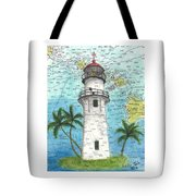 Diamond Head Lighthouse Hi Nautical Chart Map Art Tote Bag