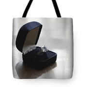 Diamond Ring On A Black Box Tote Bag