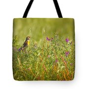 Dickcissel And Flowers Tote Bag