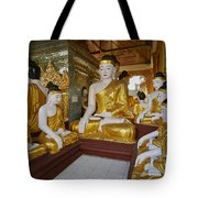 different sitting Buddhas in a circle in SHWEDAGON PAGODA Tote Bag