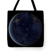 Digital Composite Of Earths City Lights Tote Bag