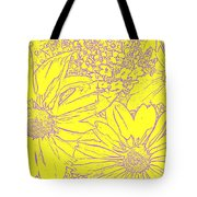 Digital Cone Flowers Drawing Tote Bag