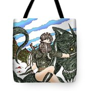 Digital Dragon Rider Colour Version Tote Bag