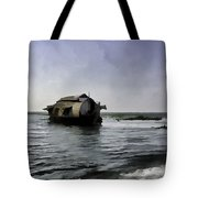 Digital Oil Painting - A Houseboat Moving Placidly Through A Coastal Lagoon Tote Bag