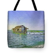 Digital Oil Painting - A Houseboat Moving Placidly Through A Coastal Lagoon In Alleppey Tote Bag